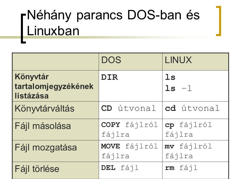 Néhány parancs DOS-ban és Linuxban DOSLINUX Könyvtár tartalomjegyzékének listázása DIRls ls –l Könyvtárváltás CD útvonalcd útvonal Fájl másolása COPY