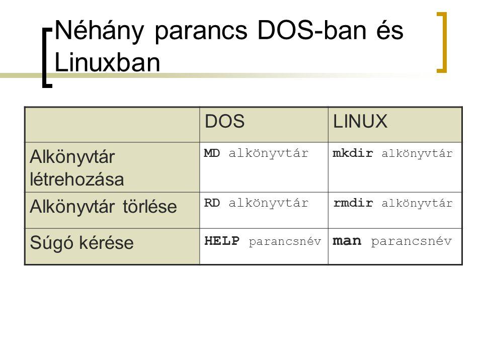 Néhány parancs DOS-ban és Linuxban DOSLINUX Alkönyvtár létrehozása MD alkönyvtármkdir alkönyvtár Alkönyvtár törlése RD alkönyvtárrmdir alkönyvtár Súgó