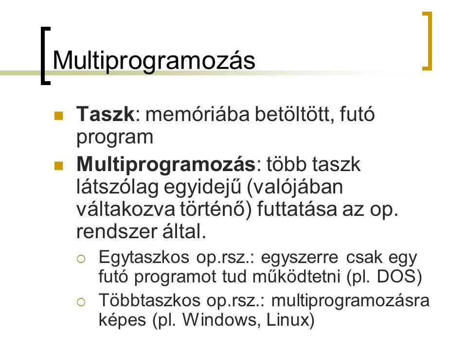 Multiprogramozás Taszk: memóriába betöltött, futó program Multiprogramozás: több taszk látszólag egyidejű (valójában váltakozva történő) futtatása az
