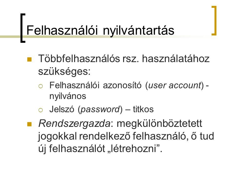 Felhasználói nyilvántartás Többfelhasználós rsz. használatához szükséges:  Felhasználói azonosító (user account) - nyilvános  Jelszó (password) – ti