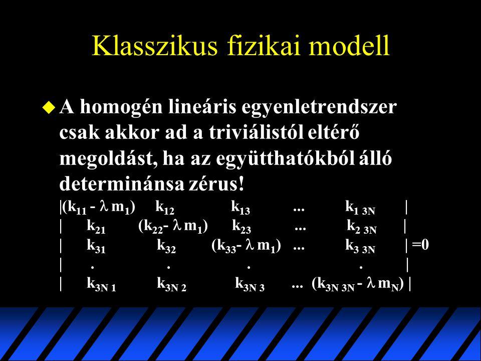 Klasszikus fizikai modell  A homogén lineáris egyenletrendszer csak akkor ad a triviálistól eltérő megoldást, ha az együtthatókból álló determinánsa