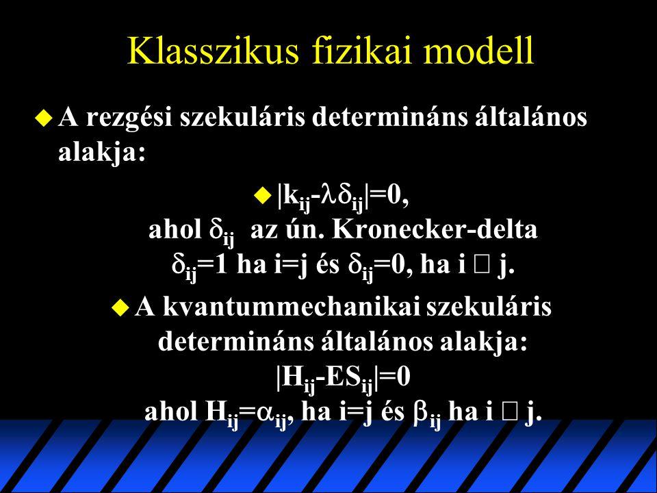 Klasszikus fizikai modell u A rezgési szekuláris determináns általános alakja:  |k ij -  ij |=0, ahol  ij az ún. Kronecker-delta  ij =1 ha i=j és