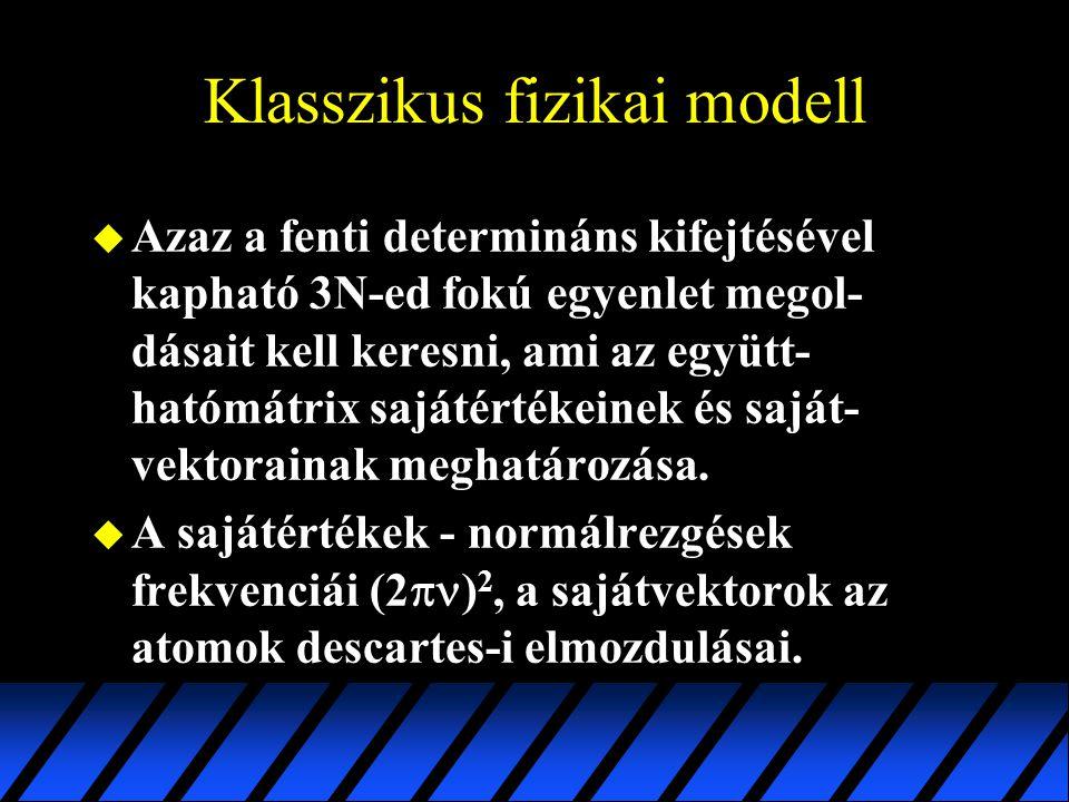 Klasszikus fizikai modell u Azaz a fenti determináns kifejtésével kapható 3N-ed fokú egyenlet megol- dásait kell keresni, ami az együtt- hatómátrix sa
