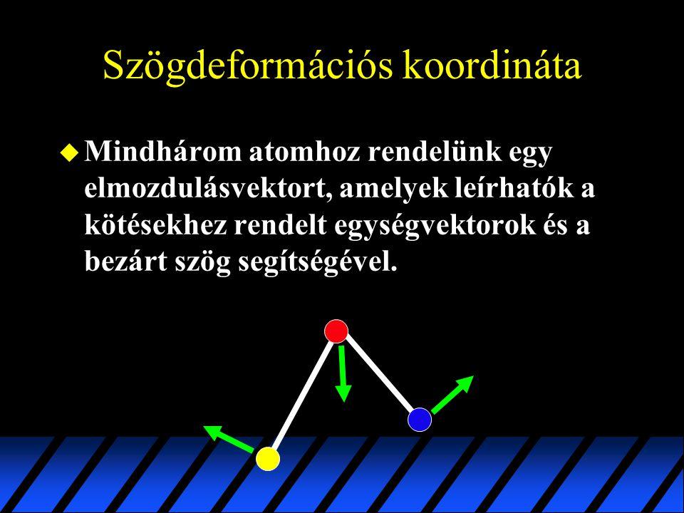Szögdeformációs koordináta u Mindhárom atomhoz rendelünk egy elmozdulásvektort, amelyek leírhatók a kötésekhez rendelt egységvektorok és a bezárt szög