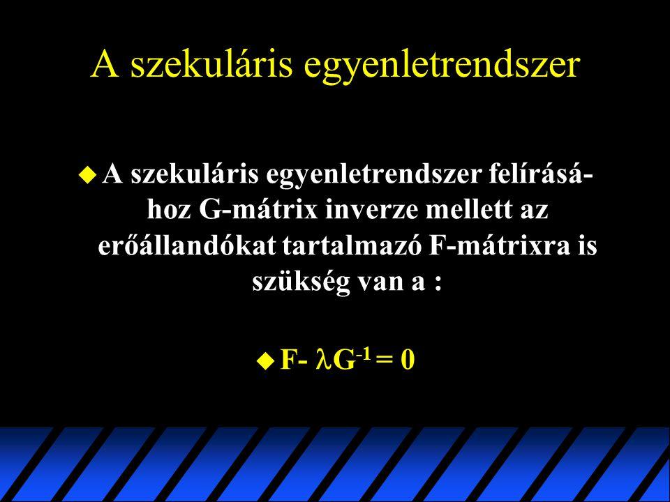 A szekuláris egyenletrendszer u A szekuláris egyenletrendszer felírásá- hoz G-mátrix inverze mellett az erőállandókat tartalmazó F-mátrixra is szükség