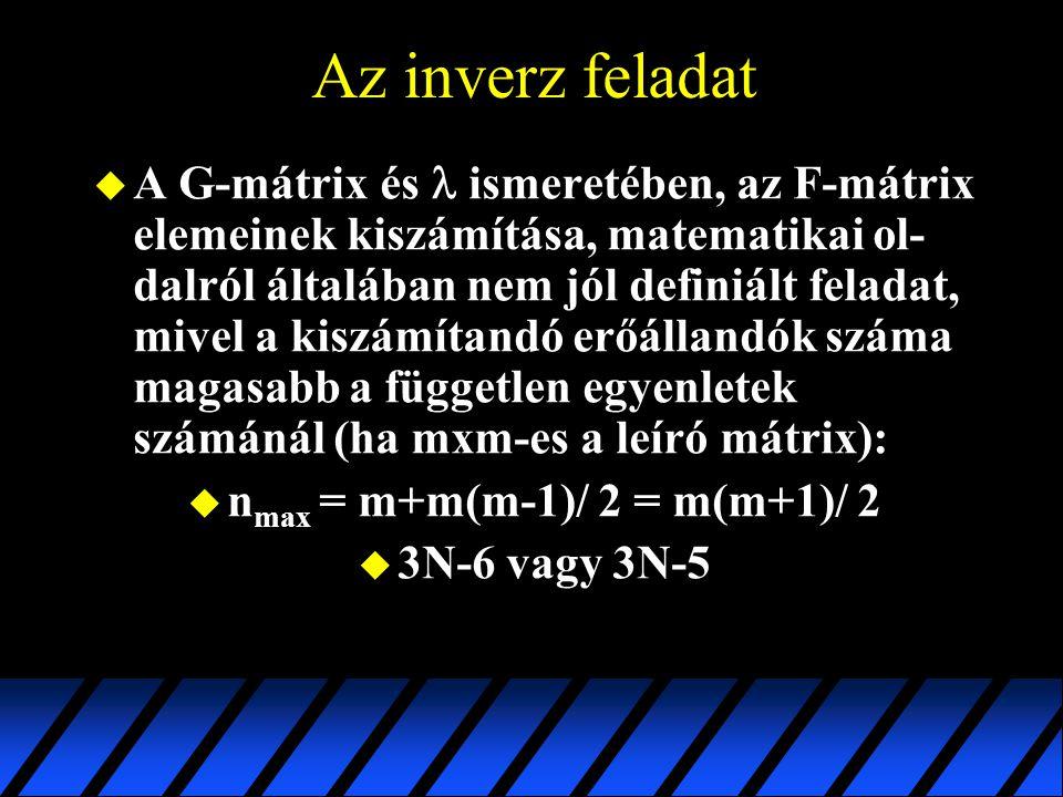 Az inverz feladat  A G-mátrix és ismeretében, az F-mátrix elemeinek kiszámítása, matematikai ol- dalról általában nem jól definiált feladat, mivel a