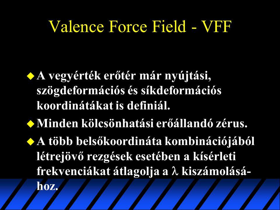 Valence Force Field - VFF u A vegyérték erőtér már nyújtási, szögdeformációs és síkdeformációs koordinátákat is definiál. u Minden kölcsönhatási erőál