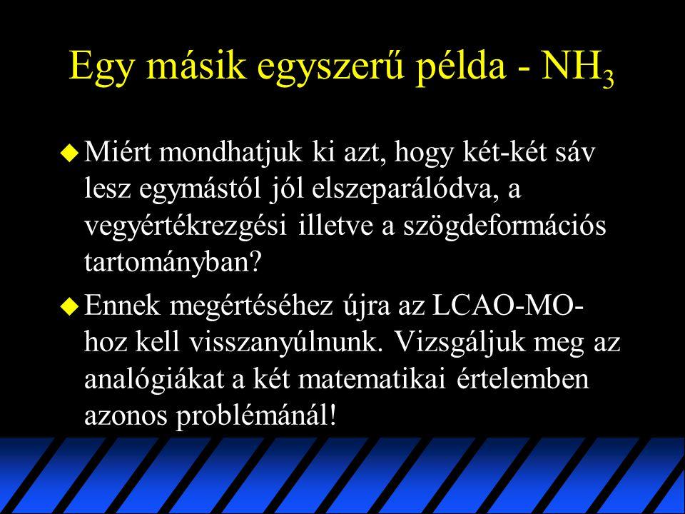 Egy másik egyszerű példa - NH 3 u Miért mondhatjuk ki azt, hogy két-két sáv lesz egymástól jól elszeparálódva, a vegyértékrezgési illetve a szögdeform