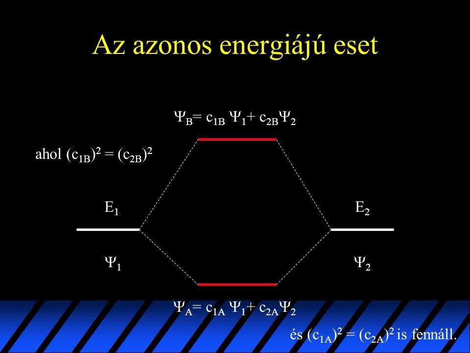 Az azonos energiájú eset E1E1 E2E2 11 22  B = c 1B  1 + c 2B  2  A = c 1A  1 + c 2A  2 ahol (c 1B ) 2 = (c 2B ) 2 és (c 1A ) 2 = (c 2A ) 2 i