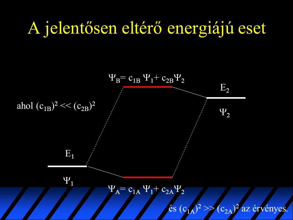 A jelentősen eltérő energiájú eset E1E1 E2E2 11 22  B = c 1B  1 + c 2B  2  A = c 1A  1 + c 2A  2 ahol (c 1B ) 2 << (c 2B ) 2 és (c 1A ) 2 >>
