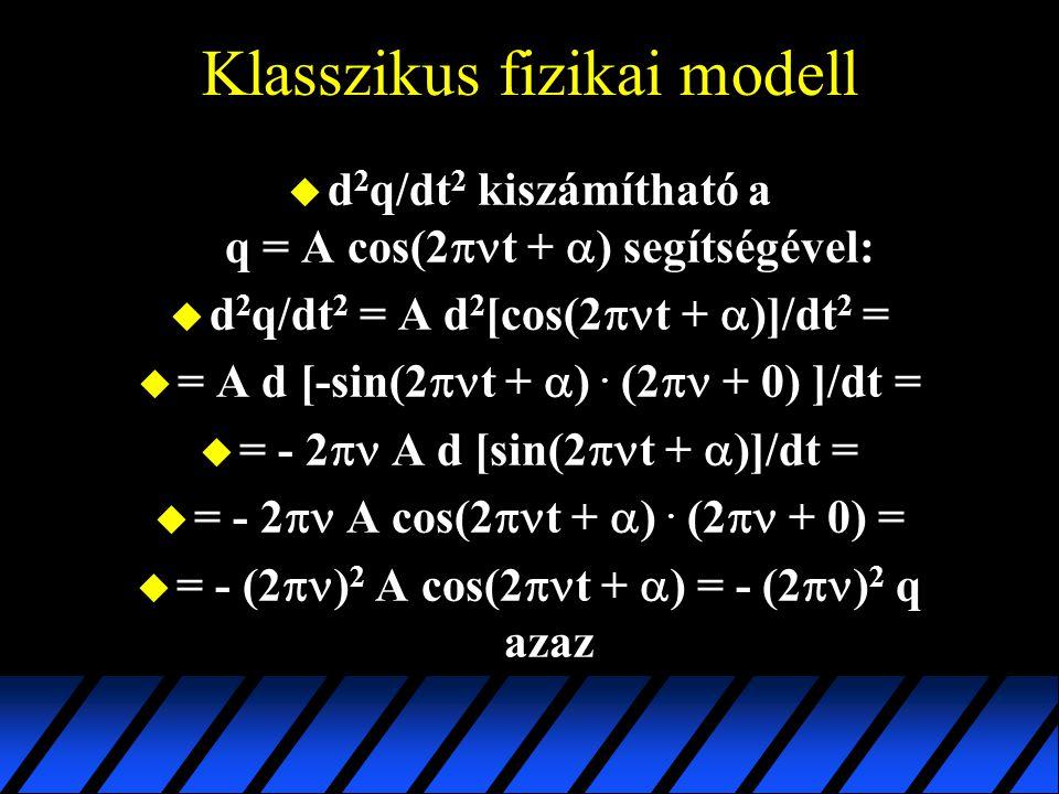 Klasszikus fizikai modell  d 2 q/dt 2 kiszámítható a q = A cos(2  t +  ) segítségével:  d 2 q/dt 2 = A d 2 [cos(2  t +  )]/dt 2 =  = A d [-sin