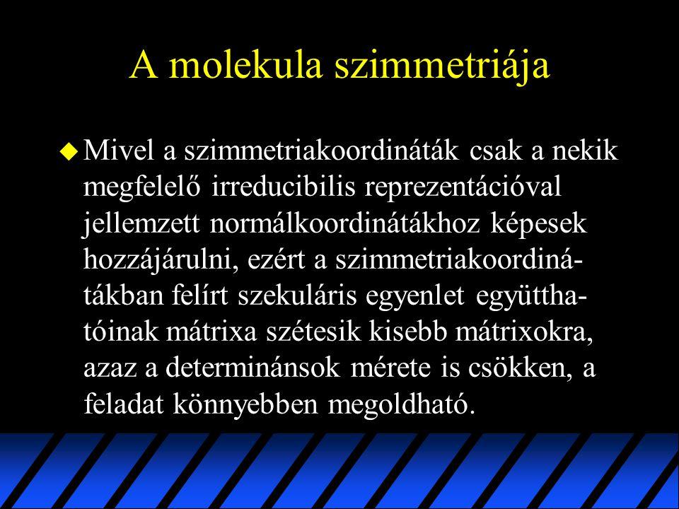 A molekula szimmetriája u Mivel a szimmetriakoordináták csak a nekik megfelelő irreducibilis reprezentációval jellemzett normálkoordinátákhoz képesek