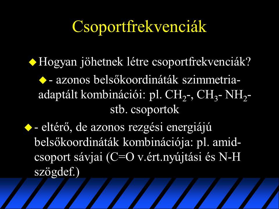 Csoportfrekvenciák u Hogyan jöhetnek létre csoportfrekvenciák? u - azonos belsőkoordináták szimmetria- adaptált kombinációi: pl. CH 2 -, CH 3 - NH 2 -
