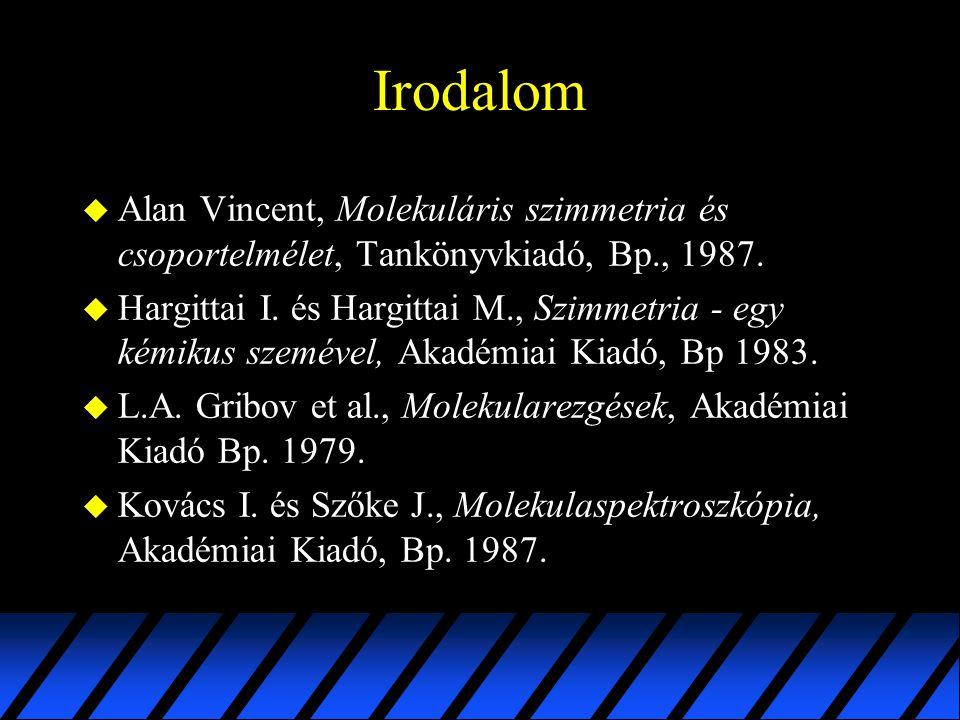 Irodalom u Alan Vincent, Molekuláris szimmetria és csoportelmélet, Tankönyvkiadó, Bp., 1987. u Hargittai I. és Hargittai M., Szimmetria - egy kémikus