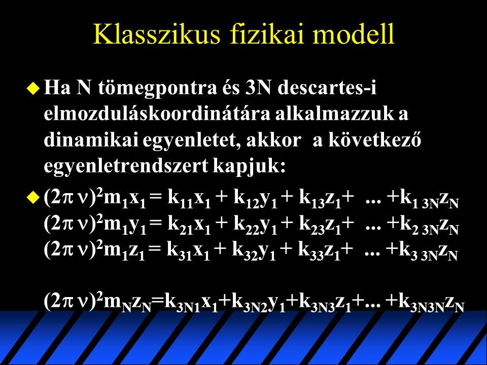 Klasszikus fizikai modell u Ha N tömegpontra és 3N descartes-i elmozduláskoordinátára alkalmazzuk a dinamikai egyenletet, akkor a következő egyenletre