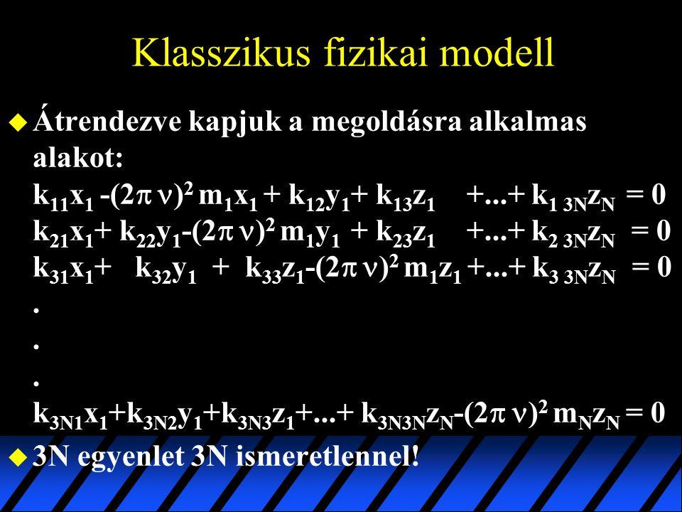 Klasszikus fizikai modell  Átrendezve kapjuk a megoldásra alkalmas alakot: k 11 x 1 -(2   ) 2 m 1 x 1 + k 12 y 1 + k 13 z 1 +...+ k 1 3N z N = 0 k