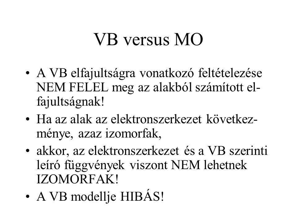 VB versus MO A VB elfajultságra vonatkozó feltételezése NEM FELEL meg az alakból számított el- fajultságnak! Ha az alak az elektronszerkezet következ-