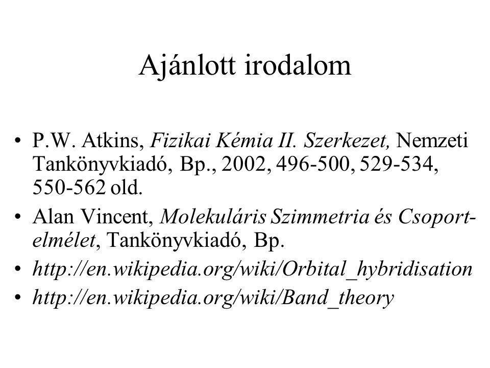 Ajánlott irodalom P.W. Atkins, Fizikai Kémia II. Szerkezet, Nemzeti Tankönyvkiadó, Bp., 2002, 496-500, 529-534, 550-562 old. Alan Vincent, Molekuláris