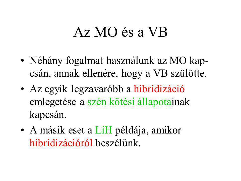 Az MO és a VB Néhány fogalmat használunk az MO kap- csán, annak ellenére, hogy a VB szülötte. Az egyik legzavaróbb a hibridizáció emlegetése a szén kö