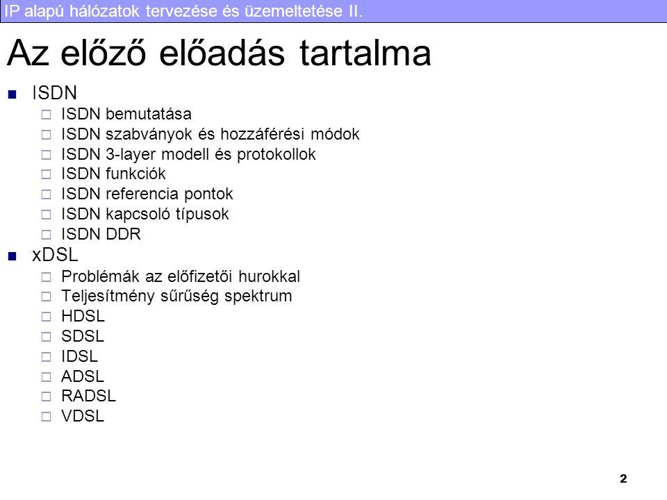 IP alapú hálózatok tervezése és üzemeltetése II. 43 Az előadás tartalma QoS Intserv Diffserv RSVP