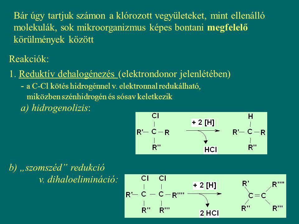 Bár úgy tartjuk számon a klórozott vegyületeket, mint ellenálló molekulák, sok mikroorganizmus képes bontani megfelelő körülmények között Reakciók: 1.