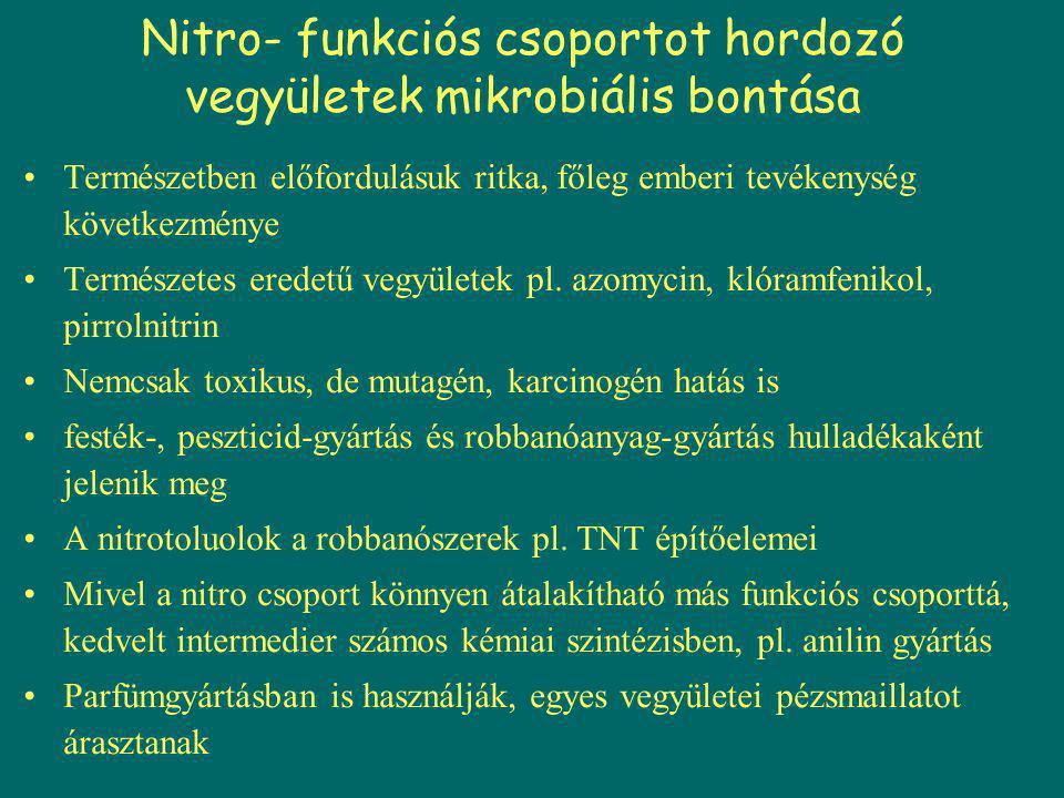 Nitro funkciós csoportot hordozó vegyületek biodegradációja Perzisztenciájuk fő oka nitro funkciós csoportjuk, mely erősen elektronelszívó hatású, emiatt az aromás gyűrű elektronhiányos, így akadályozzák az oxigenolitikus reakciókat (az oxigenázok elektrofil támadása gátolt) bonthatóságukat befolyásoló egyéb tényezők – oldhatóságuk (biol.