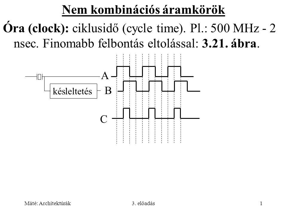 Máté: Architektúrák3. előadás1 Nem kombinációs áramkörök Óra (clock): ciklusidő (cycle time). Pl.: 500 MHz - 2 nsec. Finomabb felbontás eltolással: 3.