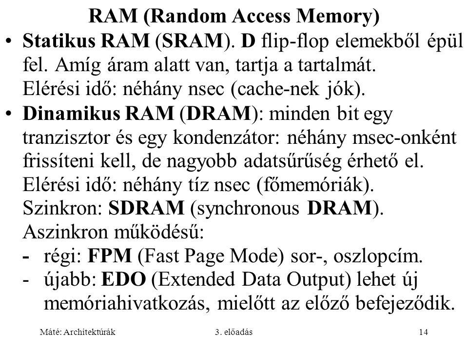 Máté: Architektúrák3. előadás14 RAM (Random Access Memory) Statikus RAM (SRAM). D flip-flop elemekből épül fel. Amíg áram alatt van, tartja a tartalmá