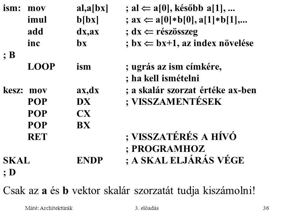 Máté: Architektúrák3. előadás36 ism:moval,a[bx]; al  a[0], később a[1],... imulb[bx]; ax  a[0]  b[0], a[1]  b[1],... adddx,ax; dx  részösszeg inc