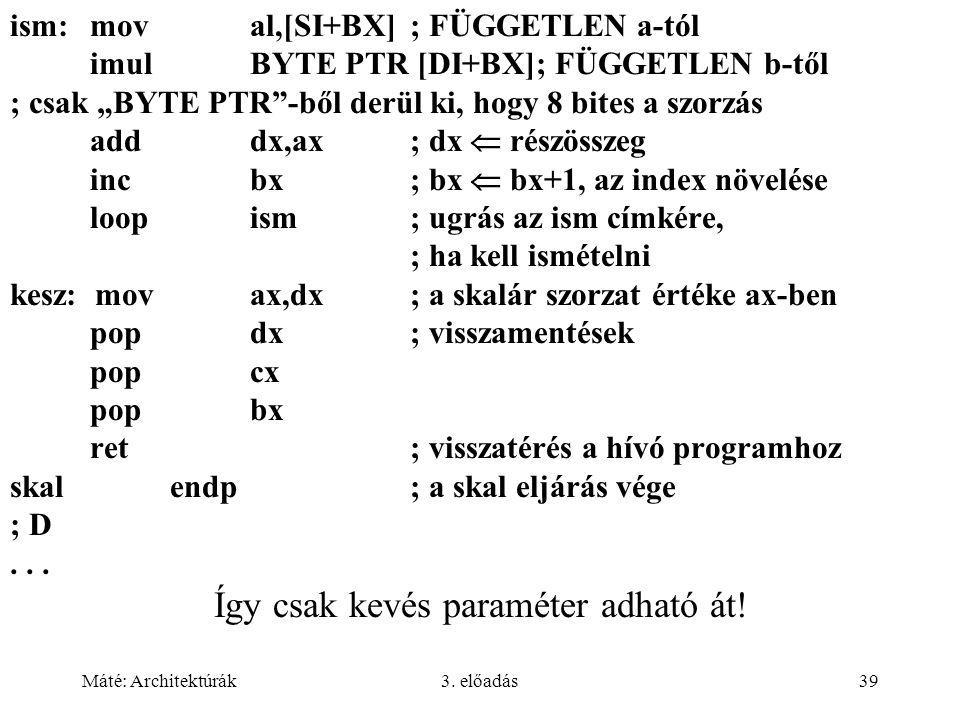 """Máté: Architektúrák3. előadás39 ism:moval,[SI+BX]; FÜGGETLEN a-tól imulBYTE PTR [DI+BX]; FÜGGETLEN b-től ; csak """"BYTE PTR""""-ből derül ki, hogy 8 bites"""