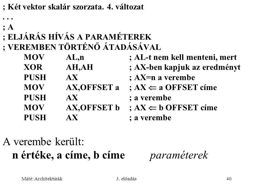 Máté: Architektúrák3. előadás40 ; Két vektor skalár szorzata. 4. változat... ; A ; ELJÁRÁS HÍVÁS A PARAMÉTEREK ; VEREMBEN TÖRTÉNŐ ÁTADÁSÁVAL MOVAL,n;