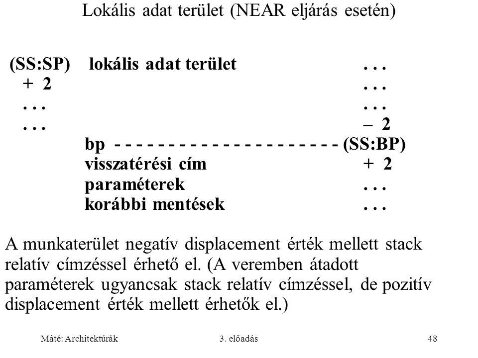 Máté: Architektúrák3. előadás48 Lokális adat terület (NEAR eljárás esetén) (SS:SP) lokális adat terület... + 2.........– 2 bp - - - - - - - - - - - -