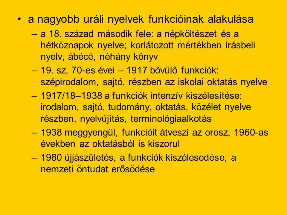 a nagyobb uráli nyelvek funkcióinak alakulása –a 18.