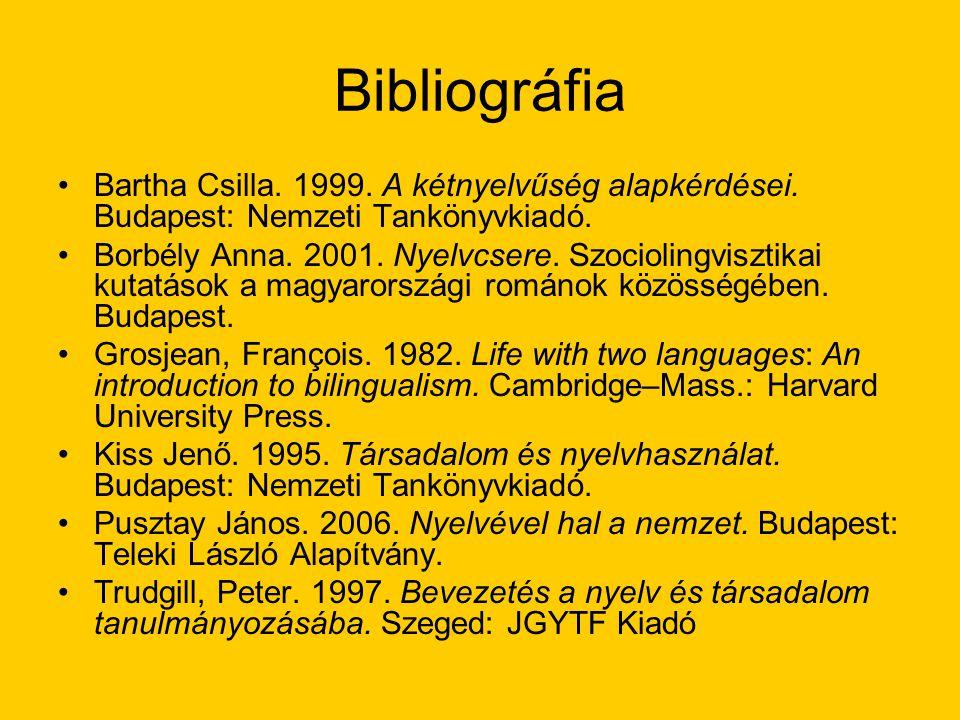 Bibliográfia Bartha Csilla. 1999. A kétnyelvűség alapkérdései.