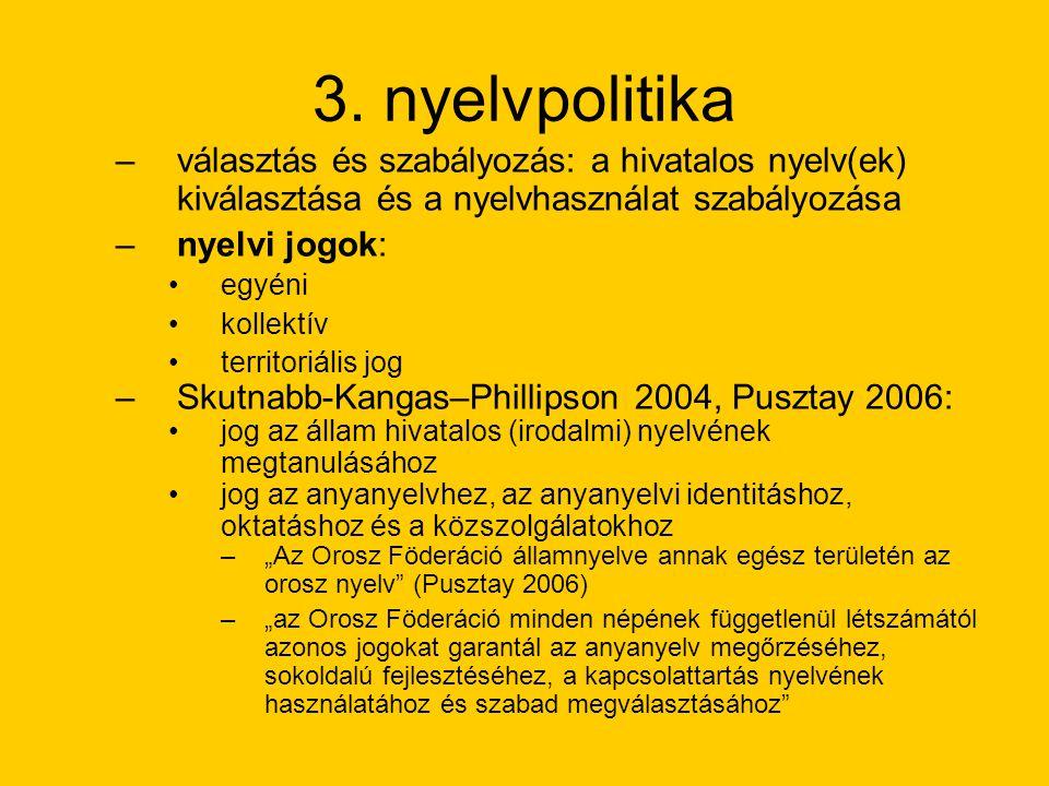 nyelvtörvények: Komi Köztársaság 1992, Mari Köztársaság 1995, Mordvin Köztársaság 1998, Udmurtia 2001, Karjala 2004 az államnyelv funkciói: –amelyen az államhatalom érintkezik a lakossággal –amelyen a hatalmi szervek, közigazgatás, a bíróság munkája, ügyintézés és a hivatalos levelezés folyik –amelyen megjelennek a feliratok és a hirdetések, a pecsétek, az áruvédjegyek, az útjelző táblák, az utcák és a terek neve –amelyen tanítanak a közoktatásban és felsőoktatásban –amelyen szól a rádió, a televízió, megjelennek a napilapok és a folyóiratok (Poljakov 2000)