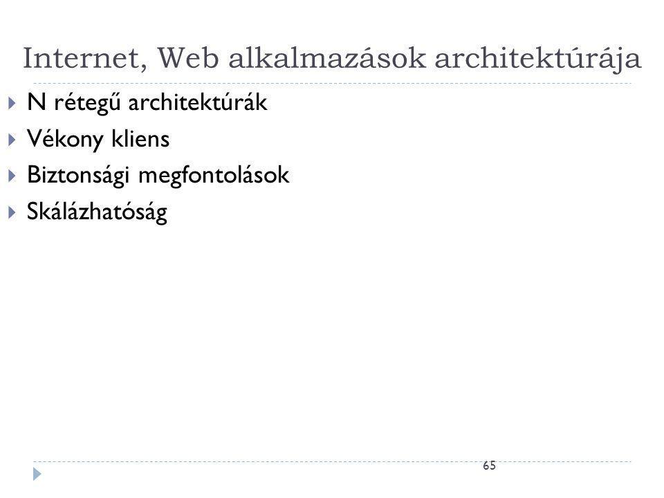 65 Internet, Web alkalmazások architektúrája  N rétegű architektúrák  Vékony kliens  Biztonsági megfontolások  Skálázhatóság