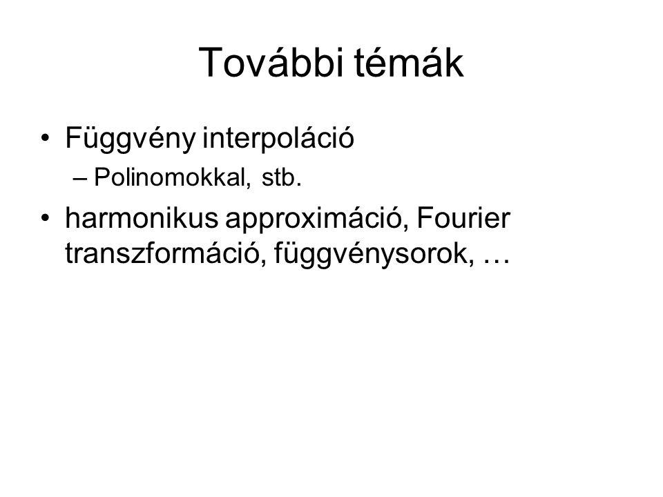 További témák Függvény interpoláció –Polinomokkal, stb. harmonikus approximáció, Fourier transzformáció, függvénysorok, …
