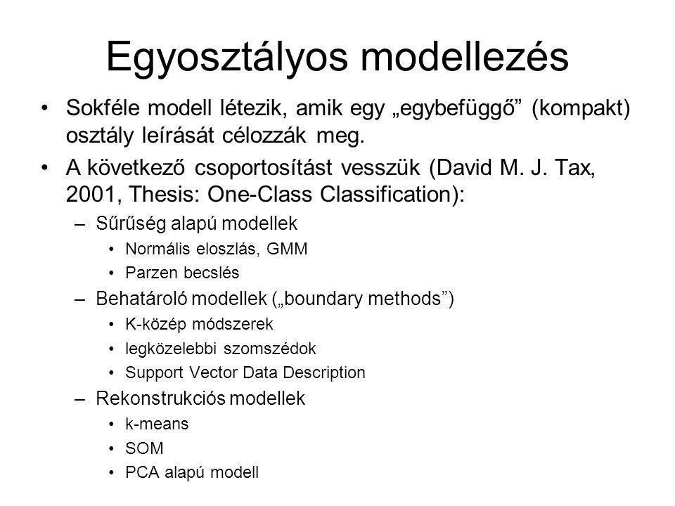 """Egyosztályos modellezés Sokféle modell létezik, amik egy """"egybefüggő"""" (kompakt) osztály leírását célozzák meg. A következő csoportosítást vesszük (Dav"""