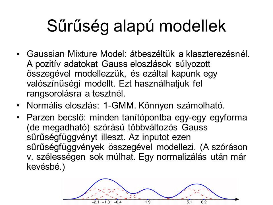 Sűrűség alapú modellek Gaussian Mixture Model: átbeszéltük a klaszterezésnél. A pozitív adatokat Gauss eloszlások súlyozott összegével modellezzük, és
