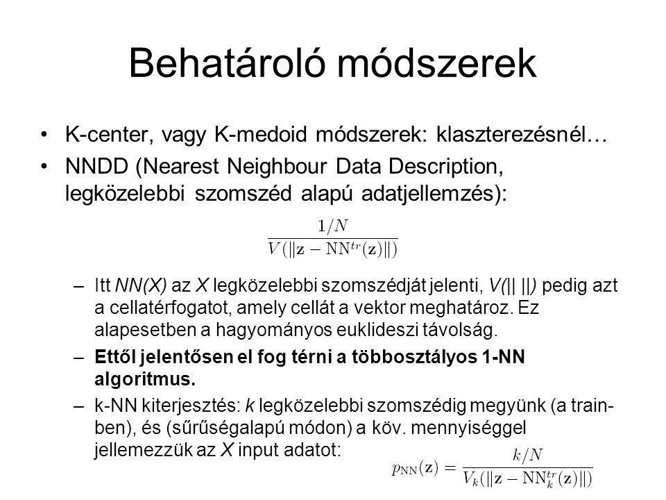 Behatároló módszerek K-center, vagy K-medoid módszerek: klaszterezésnél… NNDD (Nearest Neighbour Data Description, legközelebbi szomszéd alapú adatjel