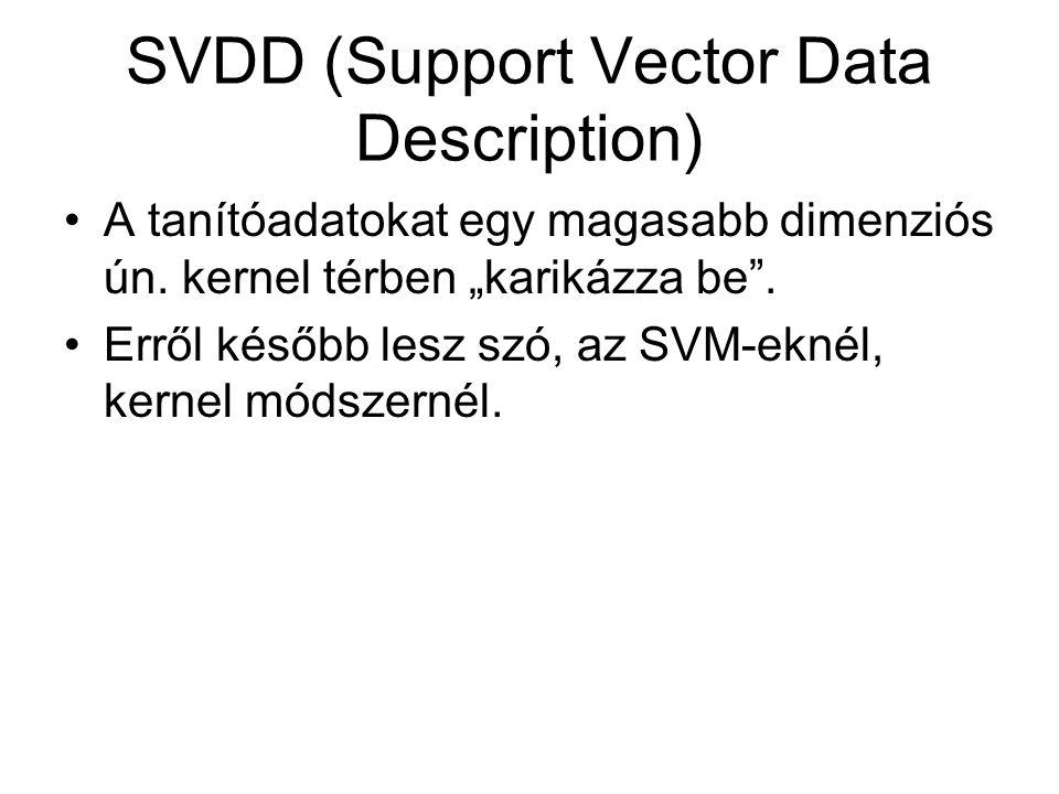 """SVDD (Support Vector Data Description) A tanítóadatokat egy magasabb dimenziós ún. kernel térben """"karikázza be"""". Erről később lesz szó, az SVM-eknél,"""