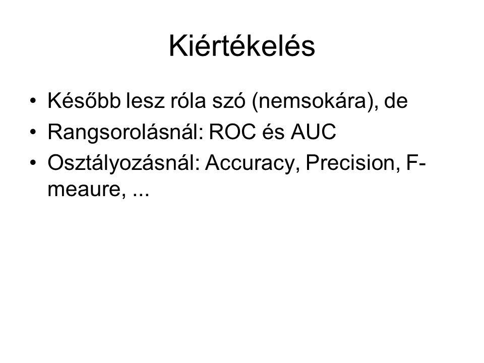 Kiértékelés Később lesz róla szó (nemsokára), de Rangsorolásnál: ROC és AUC Osztályozásnál: Accuracy, Precision, F- meaure,...