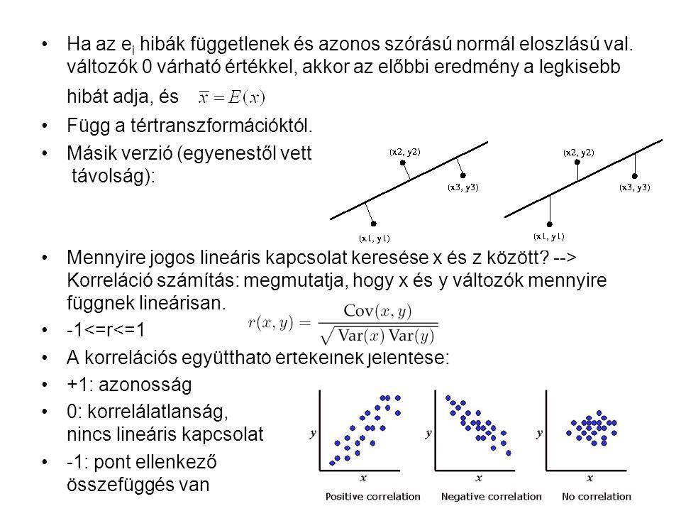 Ha az e i hibák függetlenek és azonos szórású normál eloszlású val. változók 0 várható értékkel, akkor az előbbi eredmény a legkisebb hibát adja, és F
