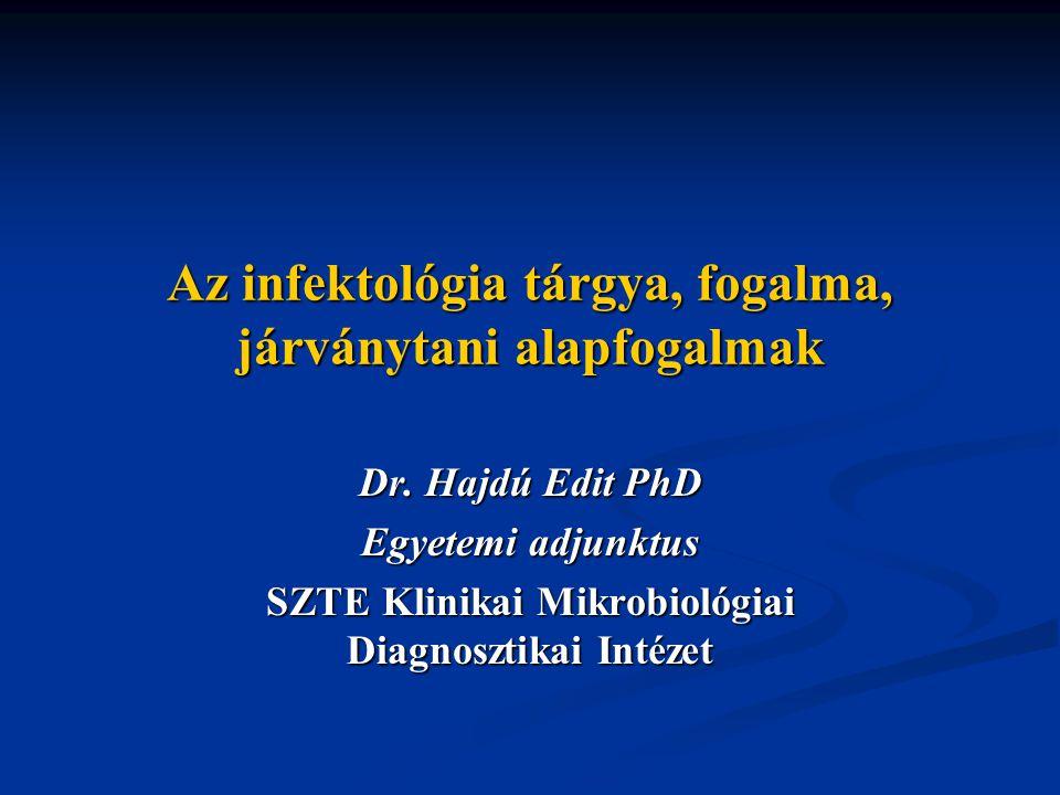 Az infektológia tárgya, fogalma, járványtani alapfogalmak Dr.