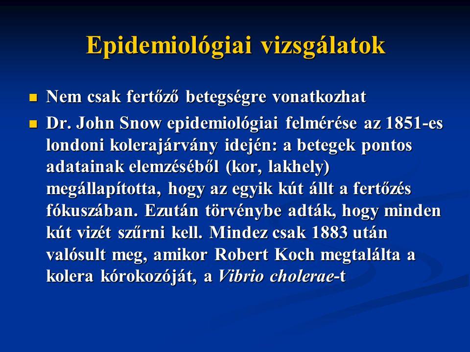 Epidemiológiai vizsgálatok Nem csak fertőző betegségre vonatkozhat Nem csak fertőző betegségre vonatkozhat Dr.