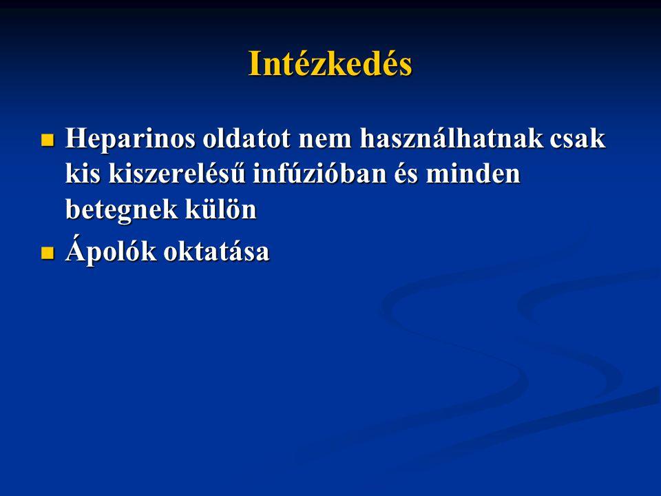 Intézkedés Heparinos oldatot nem használhatnak csak kis kiszerelésű infúzióban és minden betegnek külön Heparinos oldatot nem használhatnak csak kis kiszerelésű infúzióban és minden betegnek külön Ápolók oktatása Ápolók oktatása