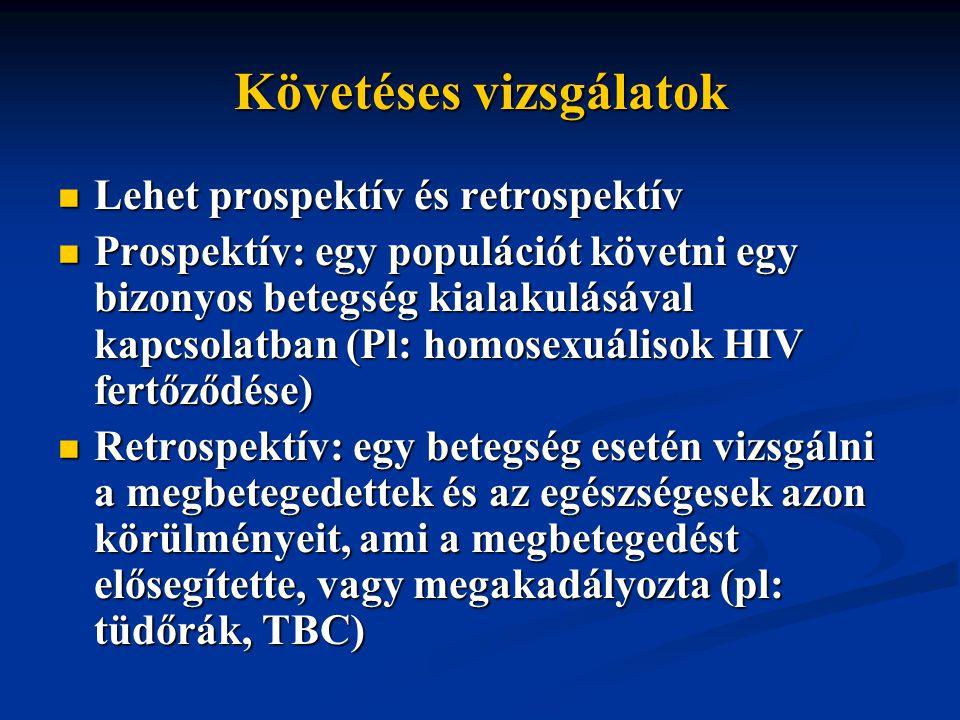 Követéses vizsgálatok Lehet prospektív és retrospektív Lehet prospektív és retrospektív Prospektív: egy populációt követni egy bizonyos betegség kialakulásával kapcsolatban (Pl: homosexuálisok HIV fertőződése) Prospektív: egy populációt követni egy bizonyos betegség kialakulásával kapcsolatban (Pl: homosexuálisok HIV fertőződése) Retrospektív: egy betegség esetén vizsgálni a megbetegedettek és az egészségesek azon körülményeit, ami a megbetegedést elősegítette, vagy megakadályozta (pl: tüdőrák, TBC) Retrospektív: egy betegség esetén vizsgálni a megbetegedettek és az egészségesek azon körülményeit, ami a megbetegedést elősegítette, vagy megakadályozta (pl: tüdőrák, TBC)