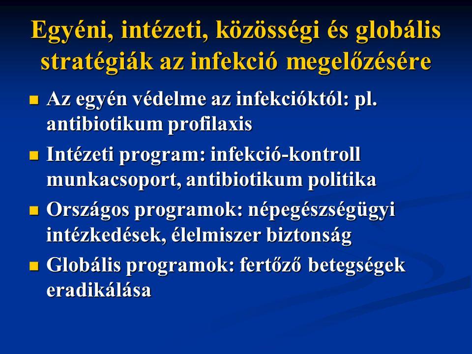 Egyéni, intézeti, közösségi és globális stratégiák az infekció megelőzésére Az egyén védelme az infekcióktól: pl.