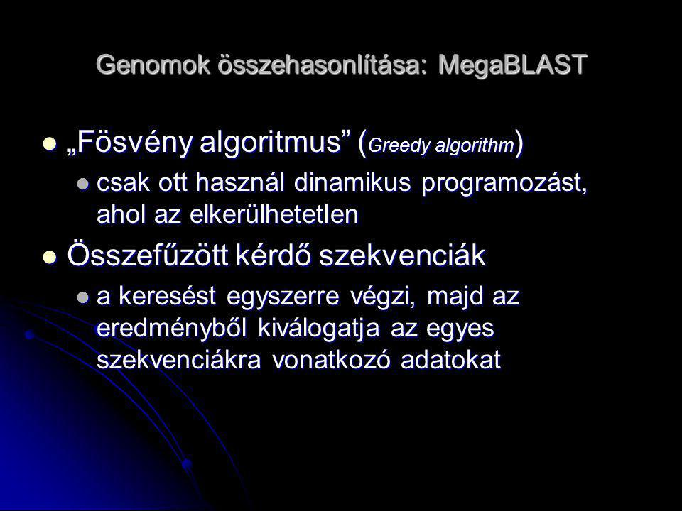 Genomok összehasonlítása: MUMmer A szekvencia ábrázolása toldalékfa (suffix tree) formájában A szekvencia ábrázolása toldalékfa (suffix tree) formájában uvw : u-prefix (előtag), v-szöveg, w-suffix (toldalék) uvw : u-prefix (előtag), v-szöveg, w-suffix (toldalék) O (n) időigény O (n) időigény Maximal Unique Matches (MUM) meghatározása Maximal Unique Matches (MUM) meghatározása Szomszédos MUM-ok összekötése Szomszédos MUM-ok összekötése MUMer2 : MUMer2 : Streaming query : 1 fa + sok kis kérdés  sebesség, genom szekvenálás Streaming query : 1 fa + sok kis kérdés  sebesség, genom szekvenálás Nucmer, prommer (nem 100%-s azonosság megtalálása) Nucmer, prommer (nem 100%-s azonosság megtalálása) MUMmer3 MUMmer3 Tetszőleges ABC  miniproteome Tetszőleges ABC  miniproteome javított nucmer, prommer, grafikus interfész javított nucmer, prommer, grafikus interfész