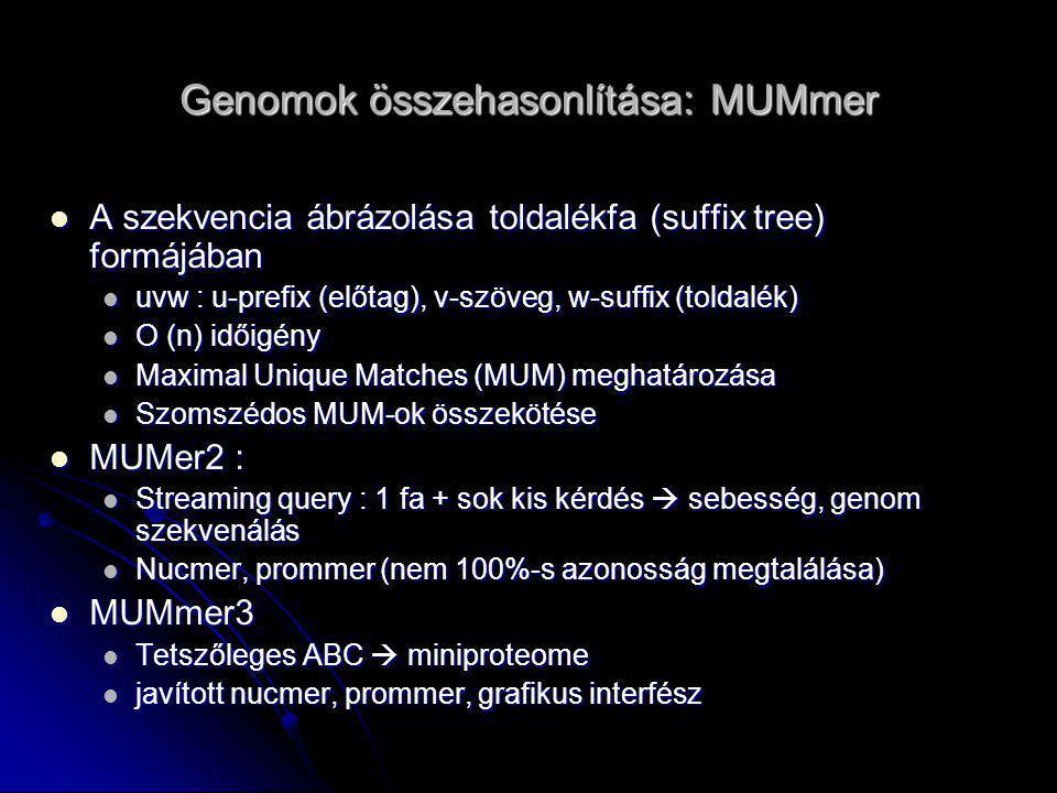 Genomok összehasonlítása: MUMmer Delcher et al, 1999. NAR v. 27